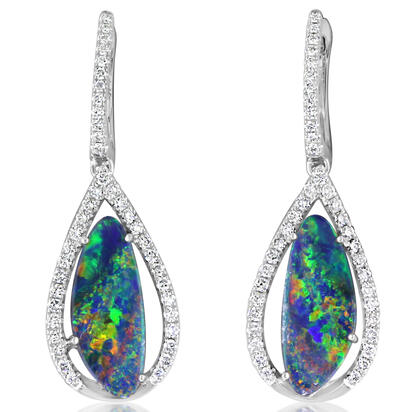 14K White Gold Australian Opal Doublet/Diamond Earrings | EMDBTPRG20237WI