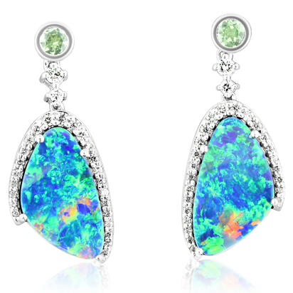 14K White Gold Australian Opal Doublet/Mint Garnet/Diamond Earrings | EMDBTPRG20594W