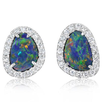 14K White Gold Australian Opal Doublet/Diamond Earrings | EMDBTPRG25204WI