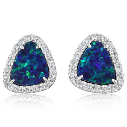 14K White Gold Australian Opal Doublet/Diamond Earrings | EMDBTPRG25228WI