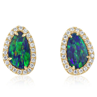 14K Yellow Gold Australian Opal Doublet/Diamond Earrings | EMDBTPRG3146CI