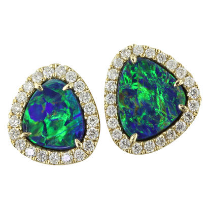 14K Yellow Gold Australian Opal Doublet/Diamond Earrings | EMDBTPRG3156CI