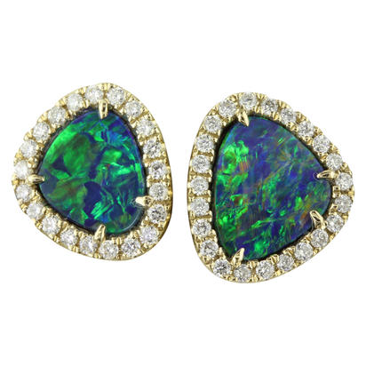 14K Yellow Gold Australian Opal Doublet/Diamond Earrings | EMDBTPRG3195CI