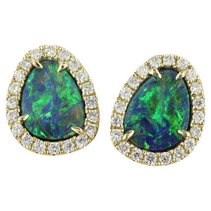 14K Yellow Gold Australian Opal Doublet/Diamond Earrings | EMDBTPRG3202CI