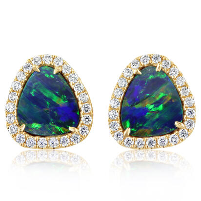 14K Yellow Gold Australian Opal Doublet/Diamond Earrings | EMDBTPRG3206CI