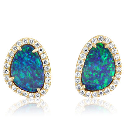 14K Yellow Gold Australian Opal Doublet/Diamond Earrings | EMDBTPRG4193CI