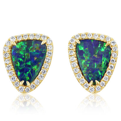 14K Yellow Gold Australian Opal Doublet/Diamond Earrings | EMDBTPRG4198CI