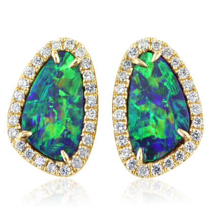 14K Yellow Gold Australian Opal Doublet/Diamond Earrings | EMDBTPRG4224CI