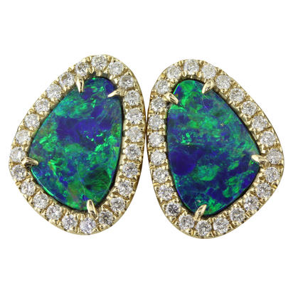 14K Yellow Gold Australian Opal Doublet/Diamond Earrings | EMDBTPRG4273CI