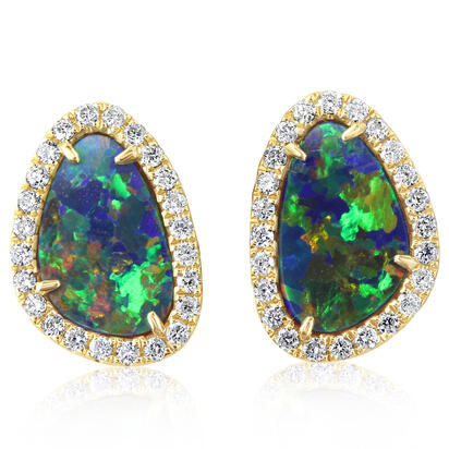 14K Yellow Gold Australian Opal Doublet/Diamond Earrings | EMDBTPRG6298CI