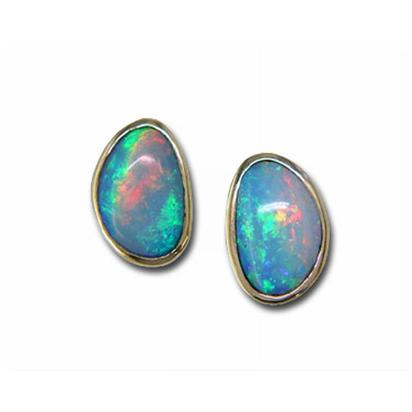 14K Yellow Gold Natural Opal Earrings | ENAT01-7I