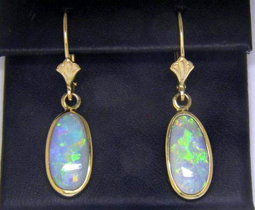 14K White Gold Australian Black Opal Freeform Earrings | ENBW13WI