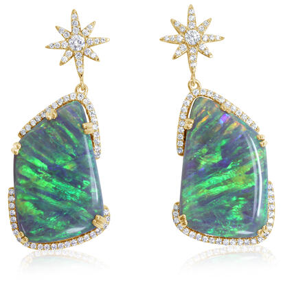 18K Yellow Gold Australian Black Opal/Diamond Earrings