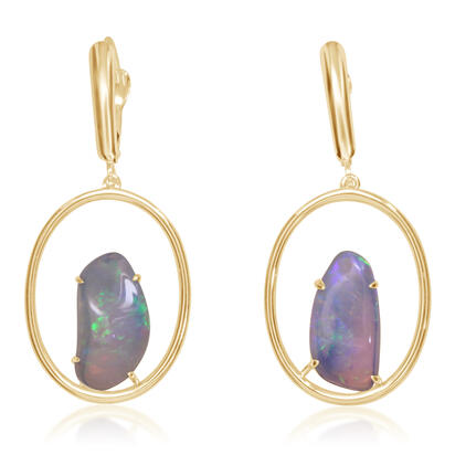 14K Yellow Gold Australian Opal Earrings | ENF001LGXCI