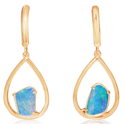 14K Yellow Gold Australian Opal Earrings | ENF002LGXCI