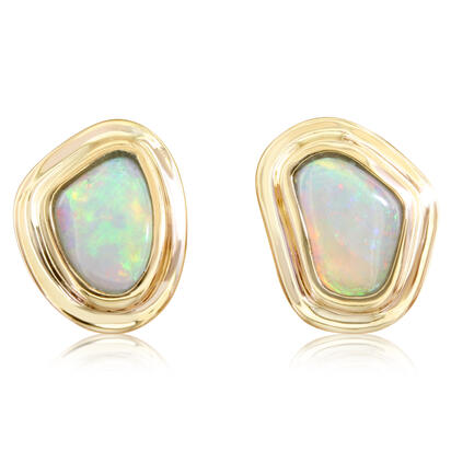 14K Yellow Gold Austalian Opal Earrings | ENLOFF055118C