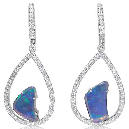 14K White Gold Australian Opal/Diamond Earrings | ENLOFF055154WI