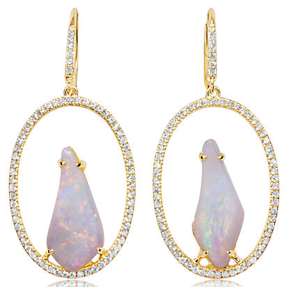 14K Yellow Gold Australian Opal/Diamond Earrings | ENLOFF085504CI