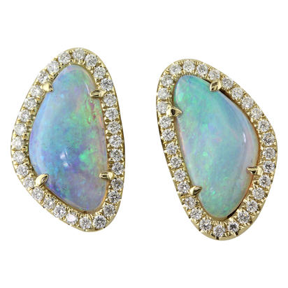 14K Yellow Gold Australian Opal/Diamond Halo Earrings | ENLOFF100176CI