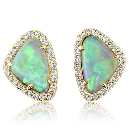 14K Yellow Gold Australian Opal/Diamond Halo Earrings | ENLOFF100177CI