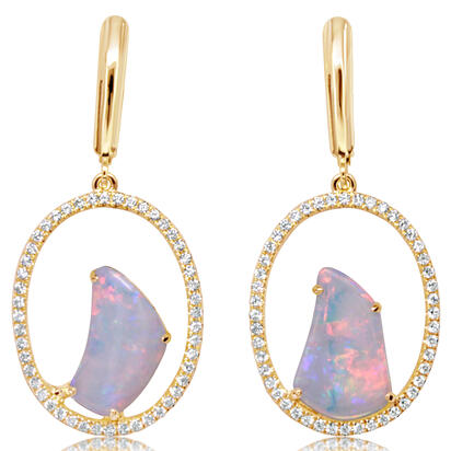 14K Yellow Gold Australian Opal/Diamond Earrings | ENLOFF100192CI