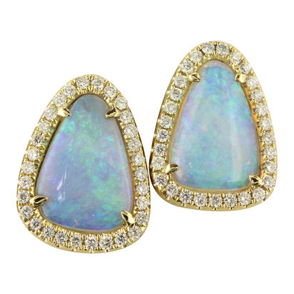 14K Yellow Gold Australian Opal/Diamond Halo Earrings | ENLOFF100232CI