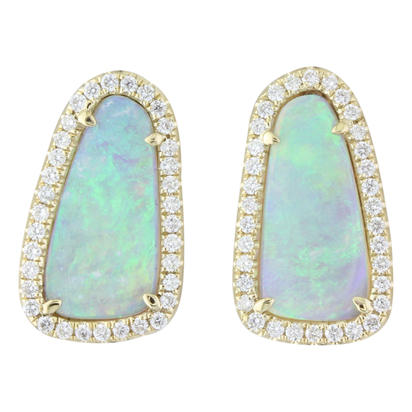 14K Yellow Gold Australian Opal/Diamond Halo Dangle Earrings | ENLOFF100252CI