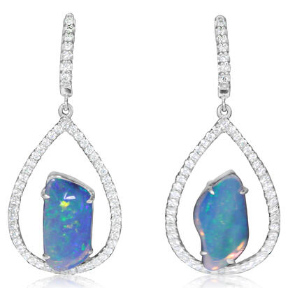 14K White Gold Australian Opal/Diamond Earrings | ENLOFF125215WI
