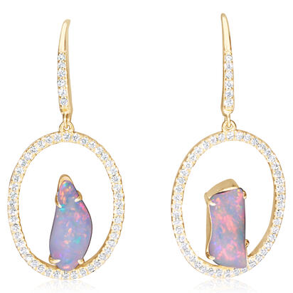 14K Yellow Gold Australian Opal/Diamond Earrings | ENLOFF125221CI