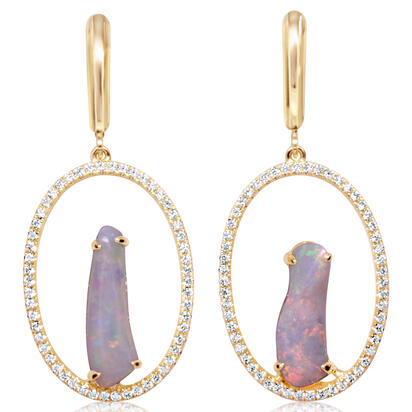 14K Yellow Gold Australian Opal/Diamond Earrings