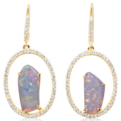 14K Yellow Gold Australian Opal/Diamond Earrings | ENLOFF125267CI