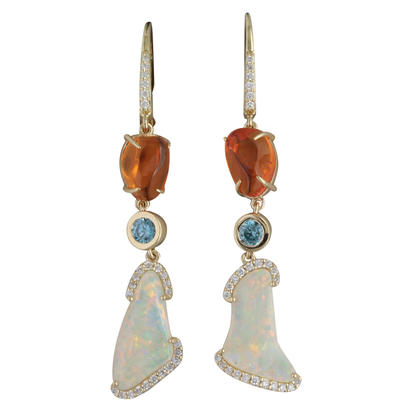 14K Yellow Gold Australian Opal/Fire Opal/Blue Zircon/Diamond Earrings ,N,H | ENLOFF125295C