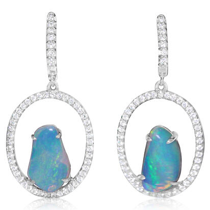 14K White Gold Australian Opal/Diamond Earrings | ENLOFF125336WI