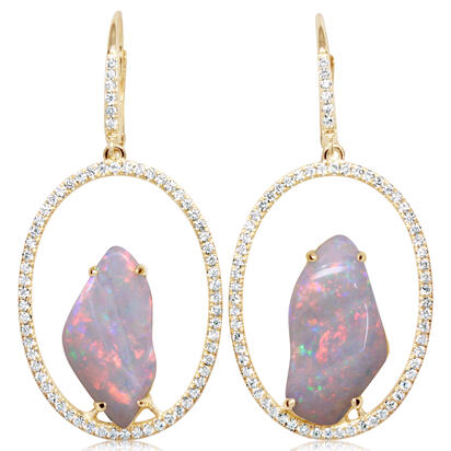 14K Yellow Gold Australian Opal/Diamond Earrings | ENLOFF125539CI