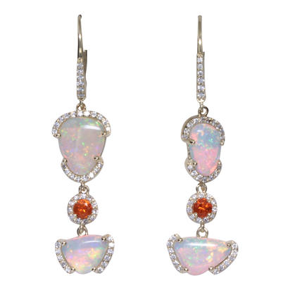 14K Yellow Gold Australian Opal/Fire Opal/Diamond Earrings | ENLOFF150295C