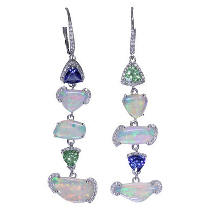 14K White Gold Australian Opal/Mint Garnet/Tanzanite/Diamond Earrings | ENLOFF150387W