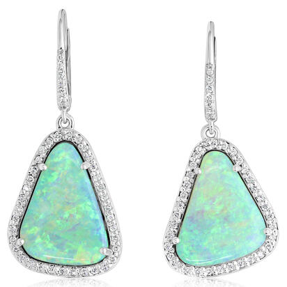 14K White Gold Australian Opal/Diamond Earrings | ENLOFF500589W