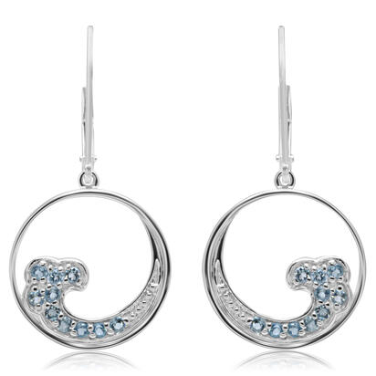 Sterling Silver Blue Topaz Wave Earrings | ENT038B2XSI