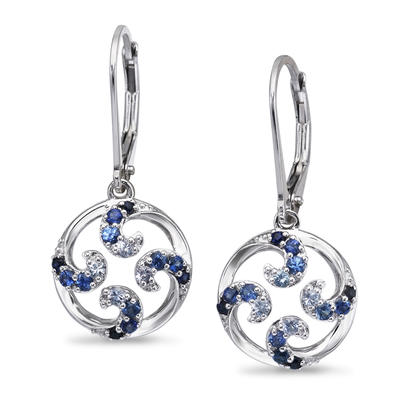 Sterling Silver Graduated Blue Sapphire Wave Earrings | ENT055GSXSI