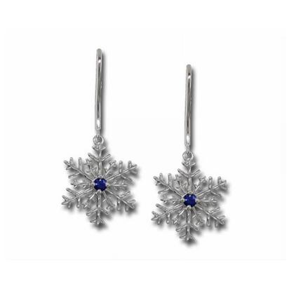 14K White Gold Yogo Sapphire Snowflake Earrings | ENTR-SFY2WI