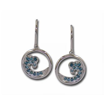 14K White Gold Nature Blue Diamond Wave 15mm Earrings | ENTR-WV2DBWI