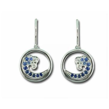 14K White Gold Graduated Blue Sapphire/Diamond Wave 15mm Earrings | ENTR-WV2DS1WI