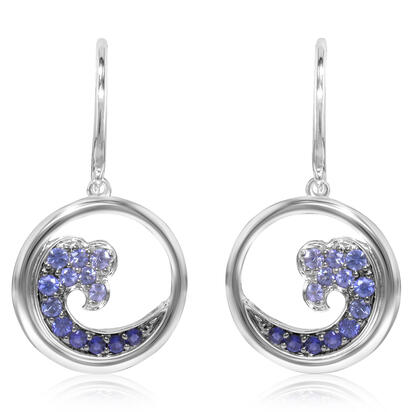 14K White Gold Nature Graduated Blue Sapphire Wave 15mm Earrings | ENTR-WV2WI