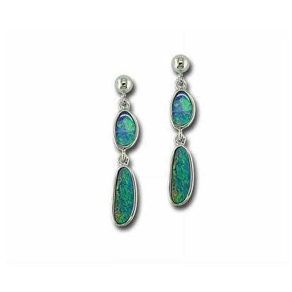 Sterling Silver Australian Opal Doublet Earrings | EOD0411AXSI