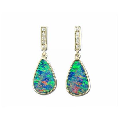 14K Yellow Gold Australian Opal Doublet/Diamond Earrings | EOD0542A2CI
