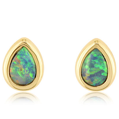 14K Yellow Gold 6x4 Pear Australian Opal Doublet Earrings | EOD264ADXCI