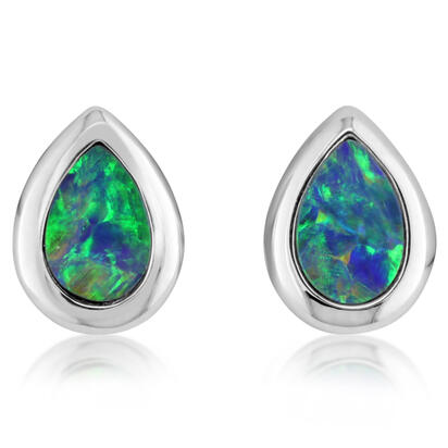 14K White Gold 6x4 Pear Australian Opal Doublet Earrings | EOD264ADXWI