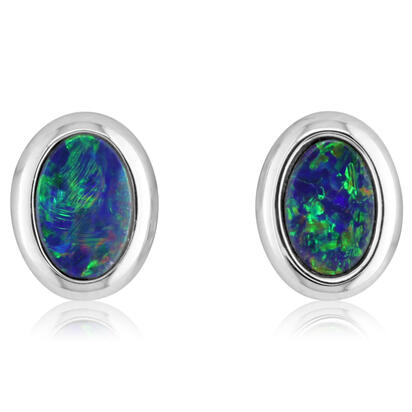 14K White Gold 4x6 Oval Australian Opal Doublet Earrings | EOD265ADXWI