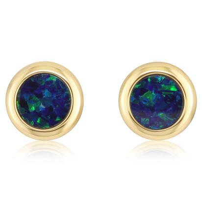 14K Yellow Gold 5mm Round Australian Opal Doublet Earrings | EOD266ADXCI