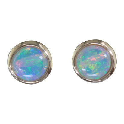 14K Yellow Gold 5mm Round Australian Opal Earrings | EOD266N2XCI